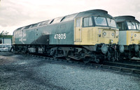 47805 in BR Blue livery with a small oil leak.
