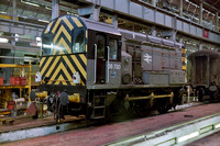 08730 in Departmental Grey livery inside the works at Eastleigh during the 1990's.