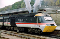 "43121 ""South Yorkshire Metropolitan County"" in Intercity Swallow livery at Sheffield."