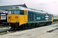 "50033 ""Glorious"" in BR Blue livery at Crewe Works."
