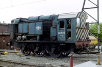 08626 in BR Blue livery at Allerton Depot, mostly stripped down of serviceable parts.